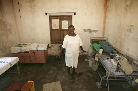 nurse in dirty hospital room