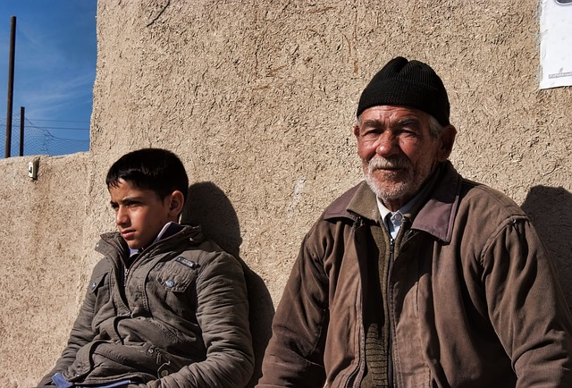 Iranian grandfather and his grandson