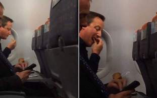 David Cameron in an EasyJet Commercial Airliner